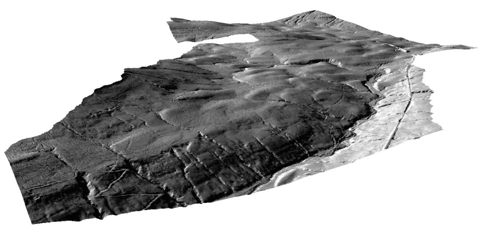 Figure 3: Hillshade plot  showing part of Upper Garsdale, viewed as a 3D surface model. It is possible to rotate and 'fly through' the model landscape. (Data copyright Environment Agency 2015.)