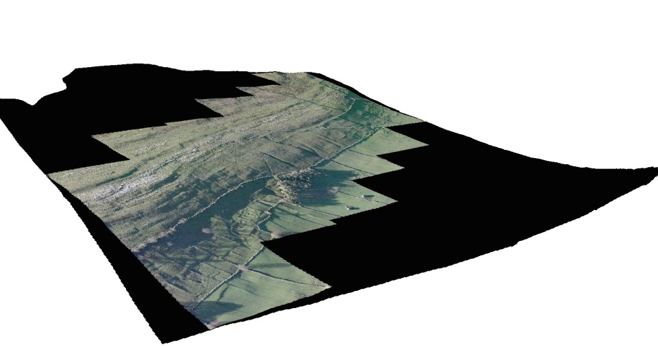 Figure 4: The height data from the lidar has been used as a surface over which to drape this aerial photograph of Halton Gill, Littondale. (Data copyright Bing Maps/Microsoft/Environment Agency 2015.)
