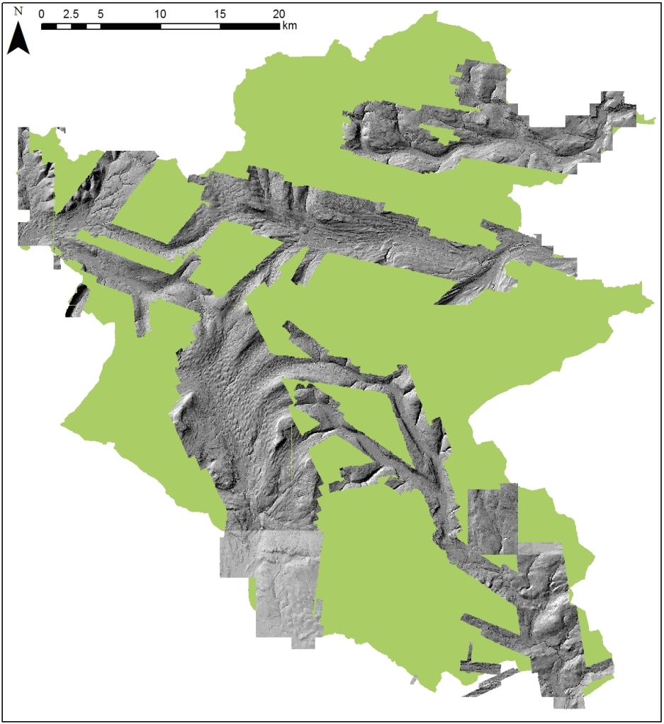 Figure 1: 1 x 1m lidar data for the Yorkshire Dales National Park (Data copyright Environment Agency 2015).